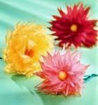 Фото цветов - самодельные астры из креповой бумаги
