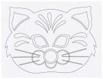 Выкройка детской карнавальной маски Кот из бумаги