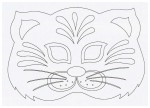 Выкройка карнавальной маски кота из бумаги