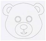 Выкройка детской карнавальной маски медвежонка из бумаги