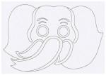 Выкройка детской карнавальной маски Слон из бумаги