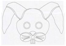 Выкройка детской карнавальной маски Заяц из бумаги